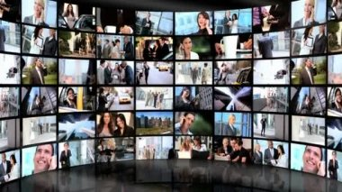 Montage-wand-bilder-business — Stockvideo