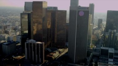 Aerial view of downtown financial district, Los Angeles, USA — Stock Video