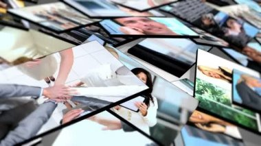 Montage Flat Screen Panels Business — Stock Video