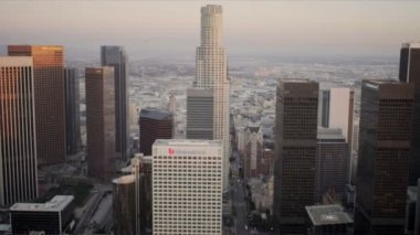 Aerial view of downtown city skyscrapers, Los Angeles, USA — Stock Video
