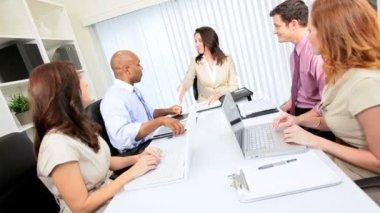 Caucasian Executive Congratulating Advertising Team Colleagues — Stock Video