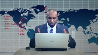 Businessman Downturn Virtual Business Environment — Stock Video
