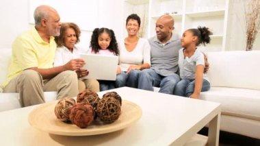Three Generations Ethnic Family Wireless Laptop Home — Stock Video