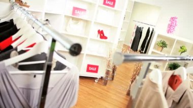 Fashionable Clothing Boutique Interior — Stock Video