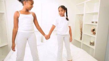 Little Ethnic Girls Fun Home Bedroom — Stock Video