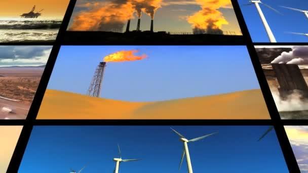 Montaje de combustibles fósiles energía limpia contraste — Vídeo de stock