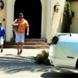 Father and son leaving home — Stock Video #49378455