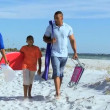 Parents and son on beach — Stock Video #49379259
