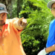 Father teaching son playing golf — Stock Video #49379645