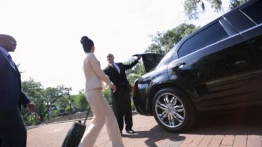 Limousine driver meeting company executives — Video Stock