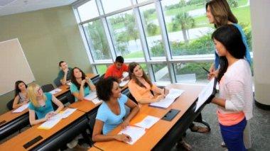 Female student giving work presentation — Stock Video