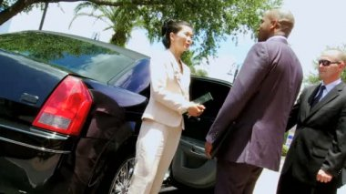 Limousine chauffeur greeting business consultants — Stock Video