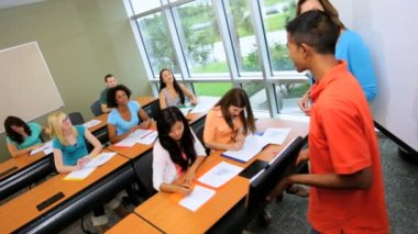 Students listening to fellow presentation — Stock Video