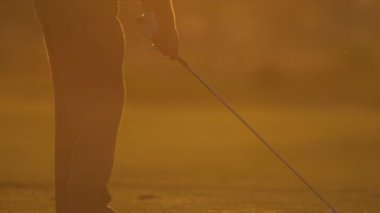 Golfer practicing his swing — Stock Video