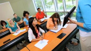 Teenagers working in college classroom — Stock Video