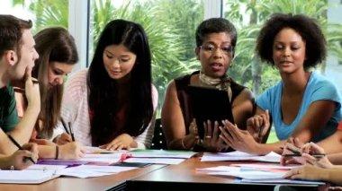 Female college tutor teaching students — Vidéo