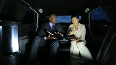 Business leaders in luxury limousine — Stock Video