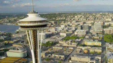 Aerial close up view Space Needle, Seattle residential suburbs — Stock Video