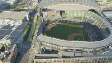 Aerial view Safeco Field Baseball Stadium Seattle, USA — Stock Video