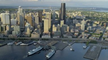 Aerial view Seattle city and Columbia Center, USA — Stock Video