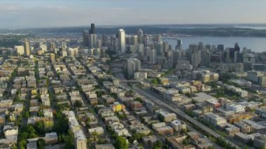 Aerial Urban scene of Downtown Metropolitan Seattle Business Center — Stock Video