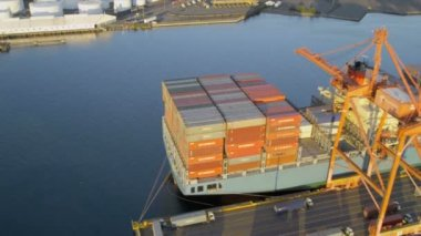 Aerial view of Container Ship loading freight Seattle — Stock Video
