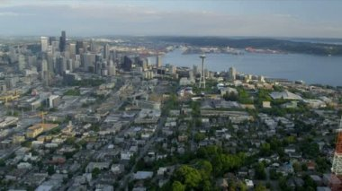 Aerial view Space Needle Downtown Seattle, USA — Stock Video