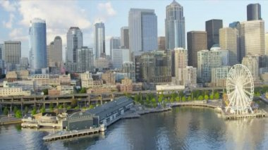 Aerial view of the Seattle Great Wheel a coastal Waterfront Park, USA — Vídeo Stock