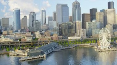 Aerial view of the Seattle Great Wheel a coastal Waterfront Park, USA — Vídeo de Stock