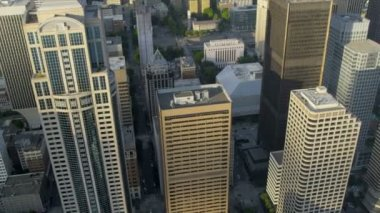 Aerial Downtown Seattle financial district, USA — Стоковое видео