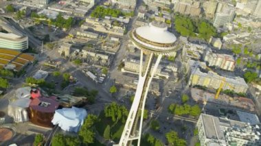 Aerial view Space Needle Observation Tower, Seattle — Stock Video