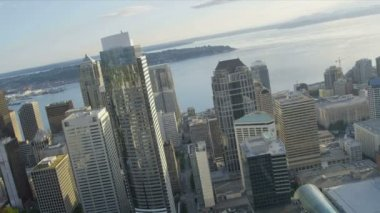 Aerial view Downtown Seattle office and financial districts — Stock Video