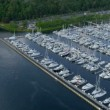Aerial view Yacht Marina Smith Cove, Seattle — Stock Video #49432001