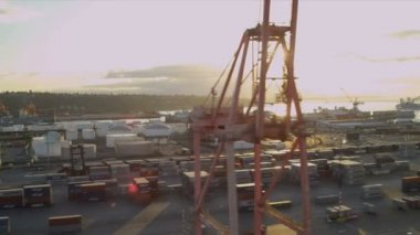 Aerial sun flare view of Container Shipping Port, Seattle — 图库视频影像