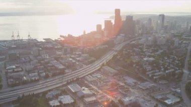 Аэрофотоснимок Сиэтл-Бизнес-центр — Стоковое видео