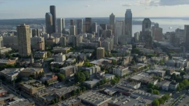 Aerial Cityscape view Downtown Seattle Finance Center, USA — Stock Video