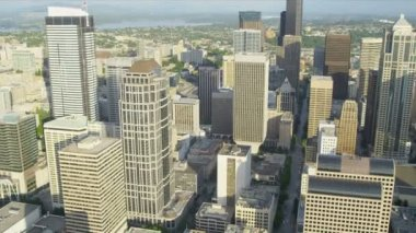 Aerial city view downtown financial district Seattle, USA — Wideo stockowe