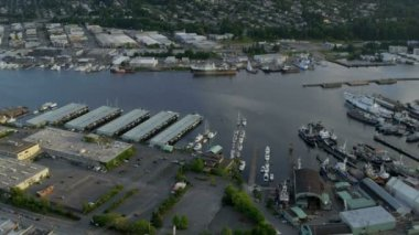 Aerial view of Lake Washington Ship Canal, Seattle, USA — Stock Video