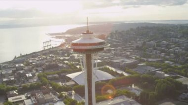 Aerial view Space Needle observation tower, Seattle, USA — Stock Video