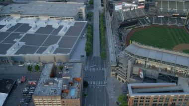Aerial view Safeco Field Baseball Stadium, Seattle — Stock Video