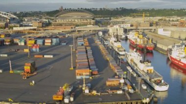 Aerial view of Container freight docks Seattle, USA — Stock Video