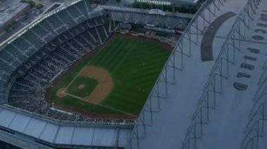 Aerial sun flare view Safeco Field Baseball Stadium, Seattle — Stock Video