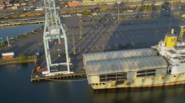 Aerial view Harbor Island Port of Seattle — Stock Video