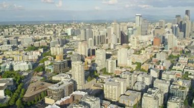 Aerial view Seattle city Business Centre and suburbs, Seattle — Stock Video