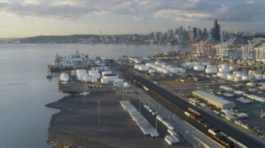 Aerial view downtown Skyscrapers Seattle Container Port — Stock Video