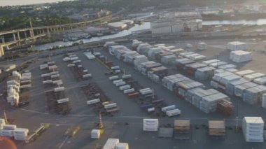 Aerial view of freight on commercial dockside, Seattle, USA — Stock Video