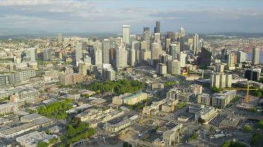 Aerial Downtown Seattle financial district Queen Anne Hill, USA — Stockvideo