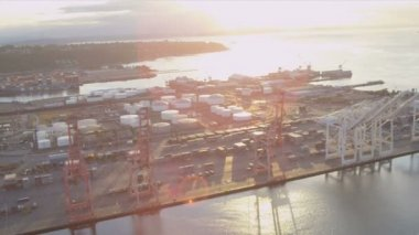 Aerial view Container Ship docked Port of Seattle — Stock Video