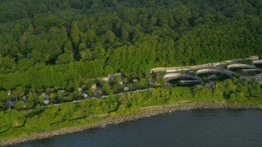 Aerial view West Point Treatment Plant nr Seattle, USA — Stock Video