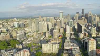 Aerial Downtown Seattle financial district, USA — Stock Video